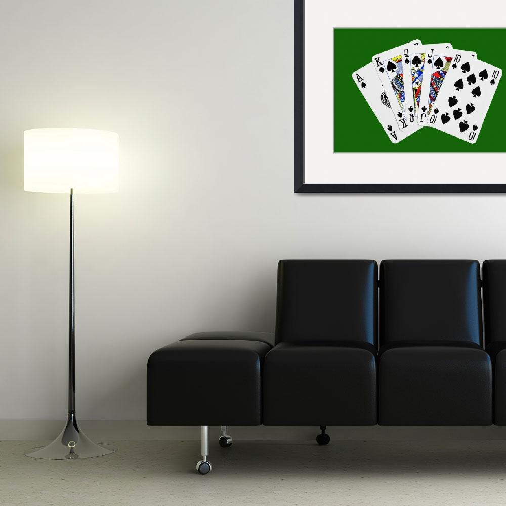"""Playing Cards Royal Flush on Green Background""  (2012) by NatalieKinnear"
