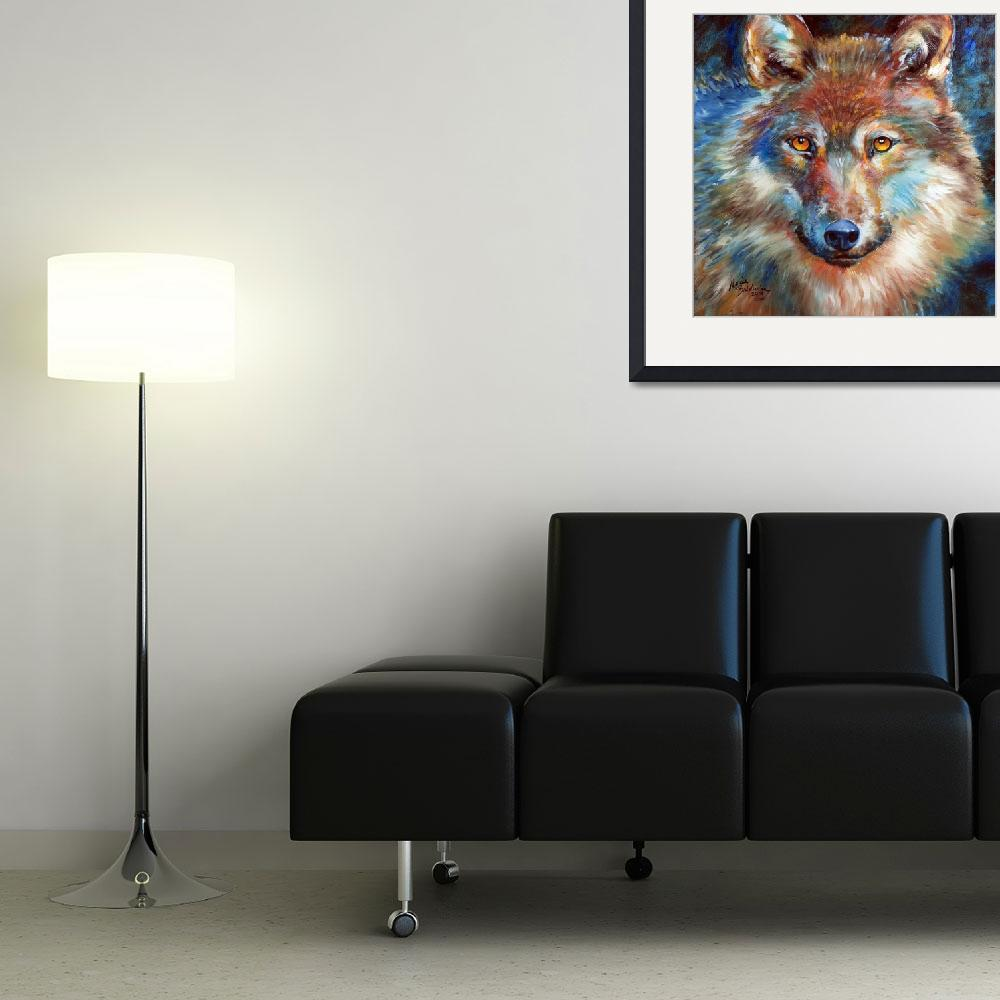 """""""1818 WOLF ABSTRACT&quot  (2014) by MBaldwinFineArt2006"""