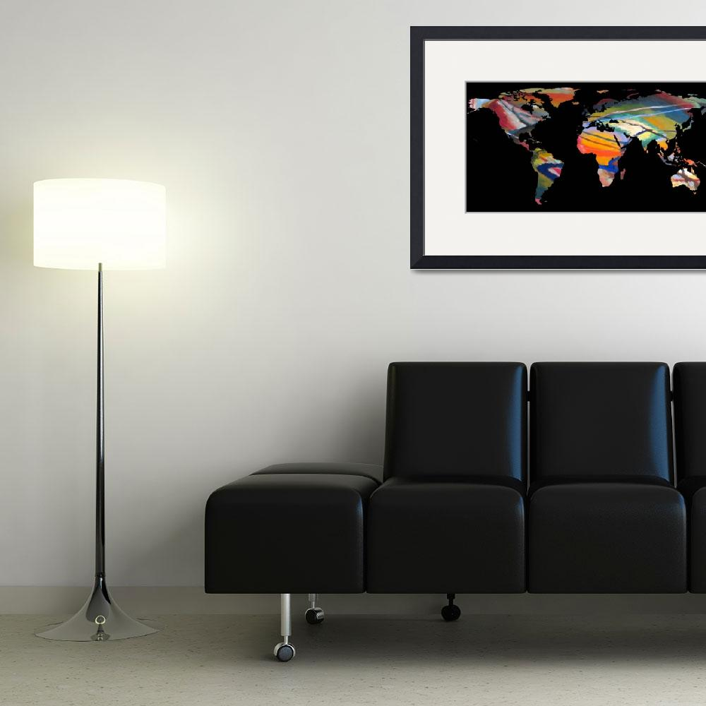 """World Map Silhouette - An Abstract World&quot  by Alleycatshirts"