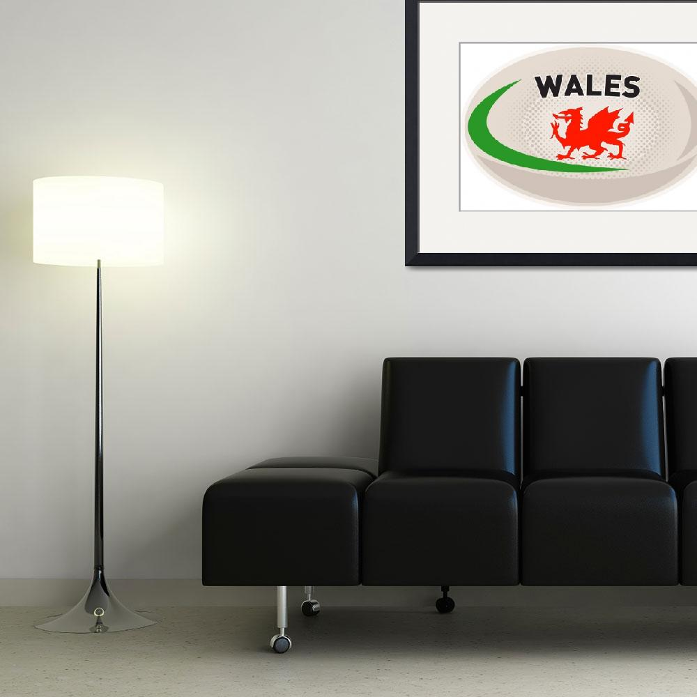 """""""Rugby Ball Wales Welsh dragon""""  (2013) by patrimonio"""