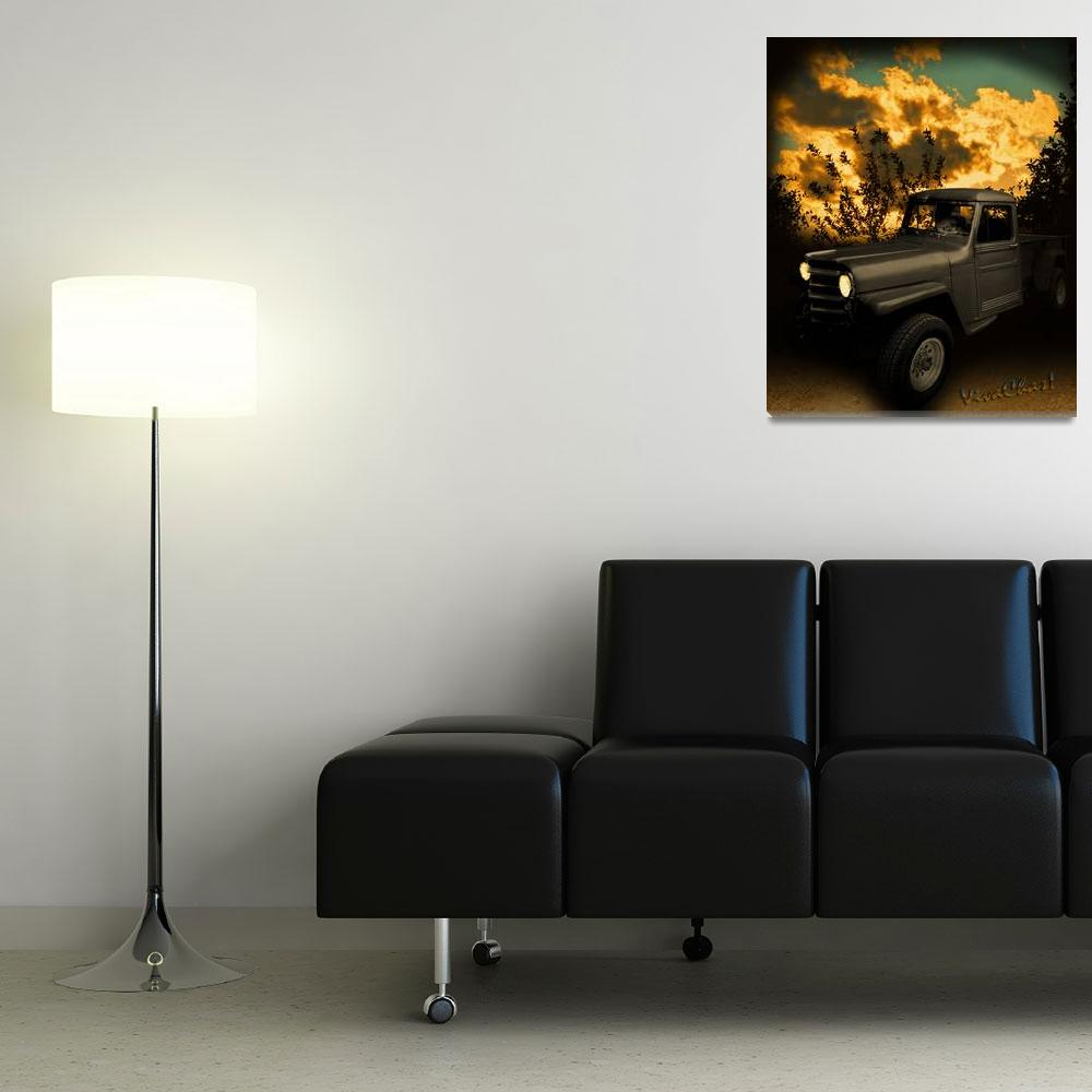 """My 51 Willys Jeep Pickup Truck at Sunset""  (2012) by chassinklier"