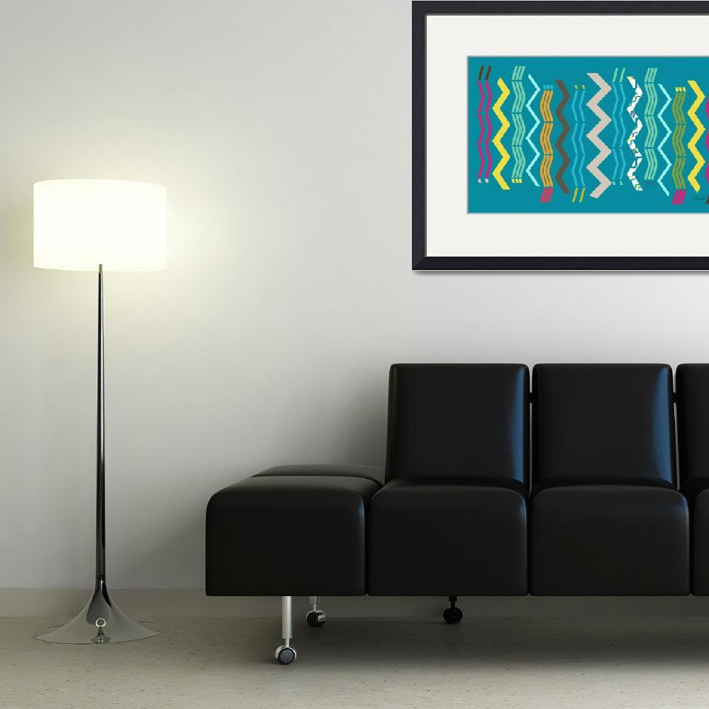 """Modern Zigzags Blue""  (2013) by RuthPalmer"