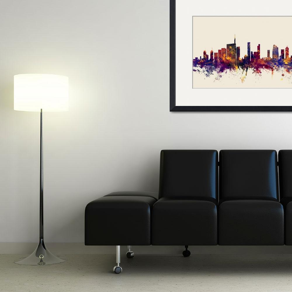 """Milan Italy Skyline&quot  (2015) by ModernArtPrints"