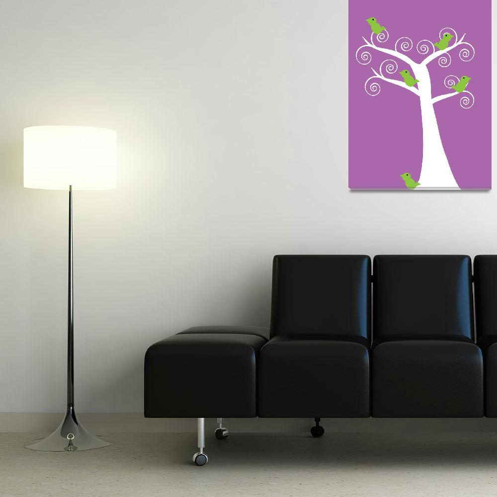 """""""5 green birds in a white tree purple&quot  (2010) by ValeriesGallery"""