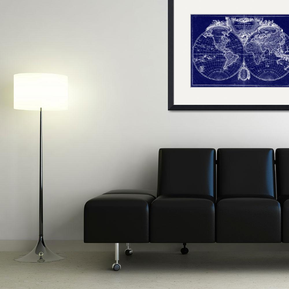"""World Map (1775) Blue & White"" by Alleycatshirts"