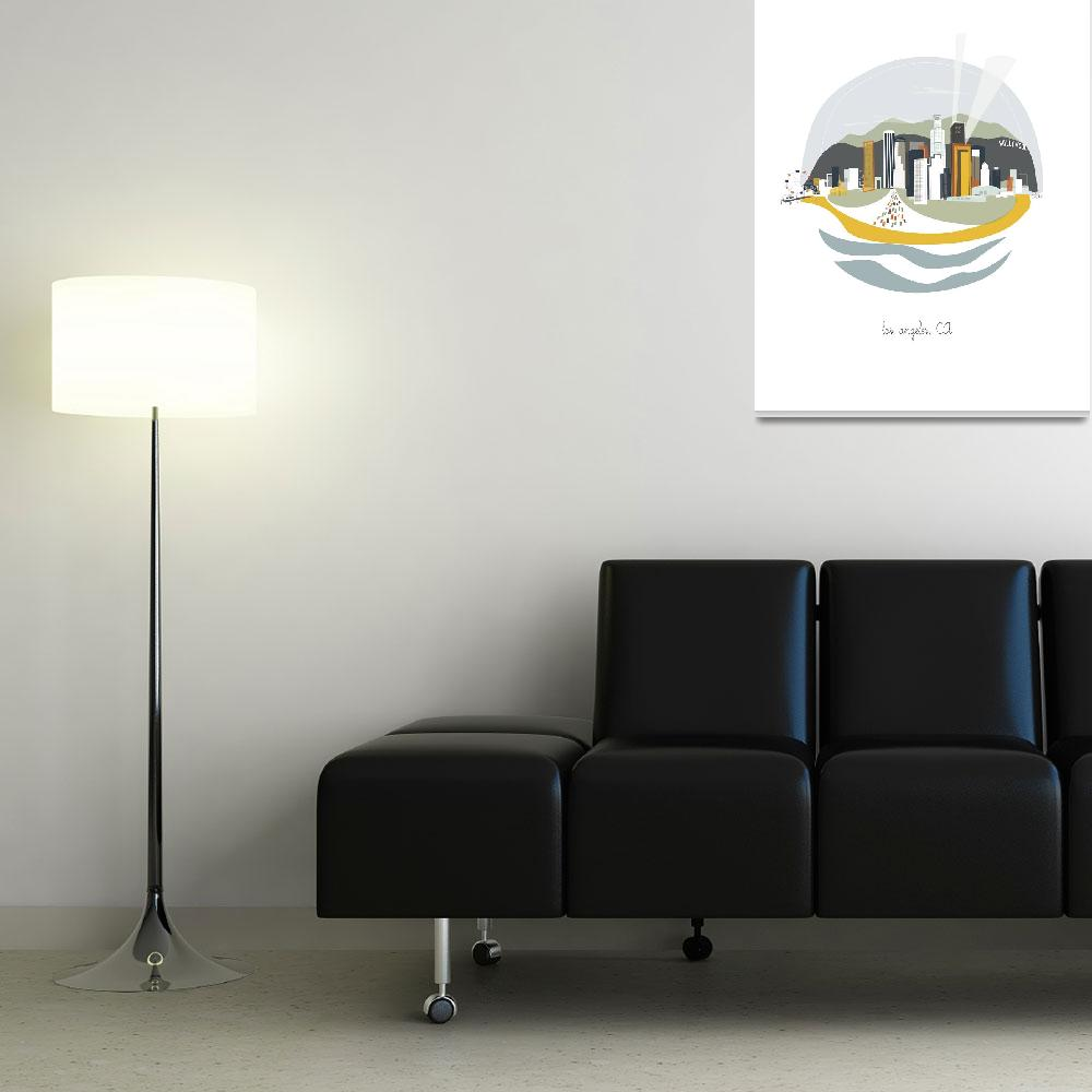 """""""Los Angeles Modern Cityscape Illustration""""  by AlbieDesigns"""