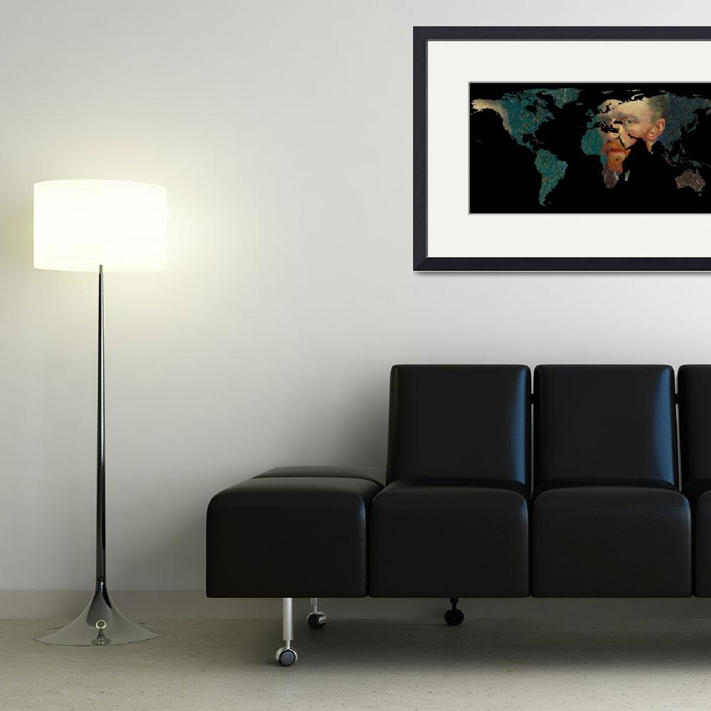 """""""World Map Silhouette - Van Gogh Self Portrait&quot  by Alleycatshirts"""