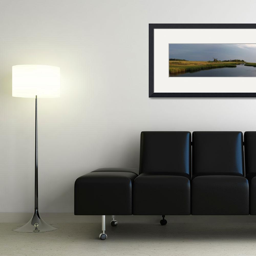 """""""Salt Water Marshes Panoramic, Nature Photography&quot  (2012) by MikeMBurkeDesigns"""