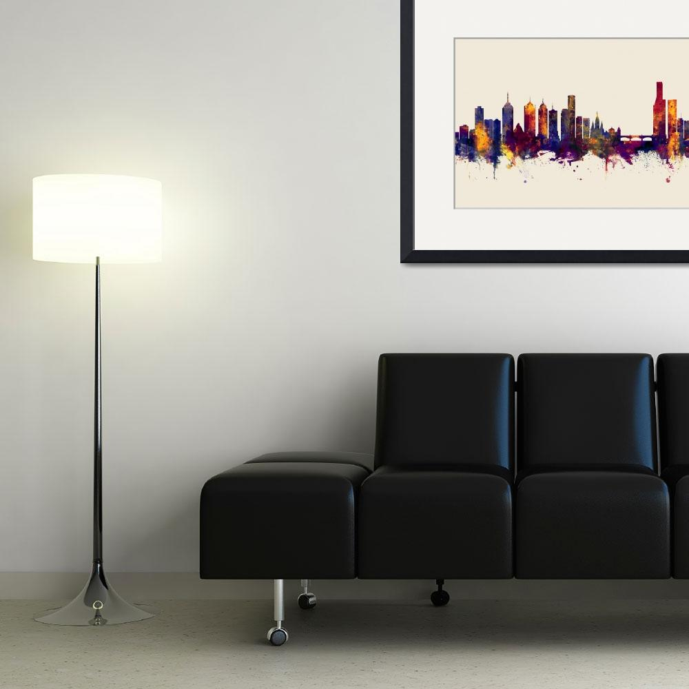"""Melbourne Skyline&quot  (2017) by ModernArtPrints"