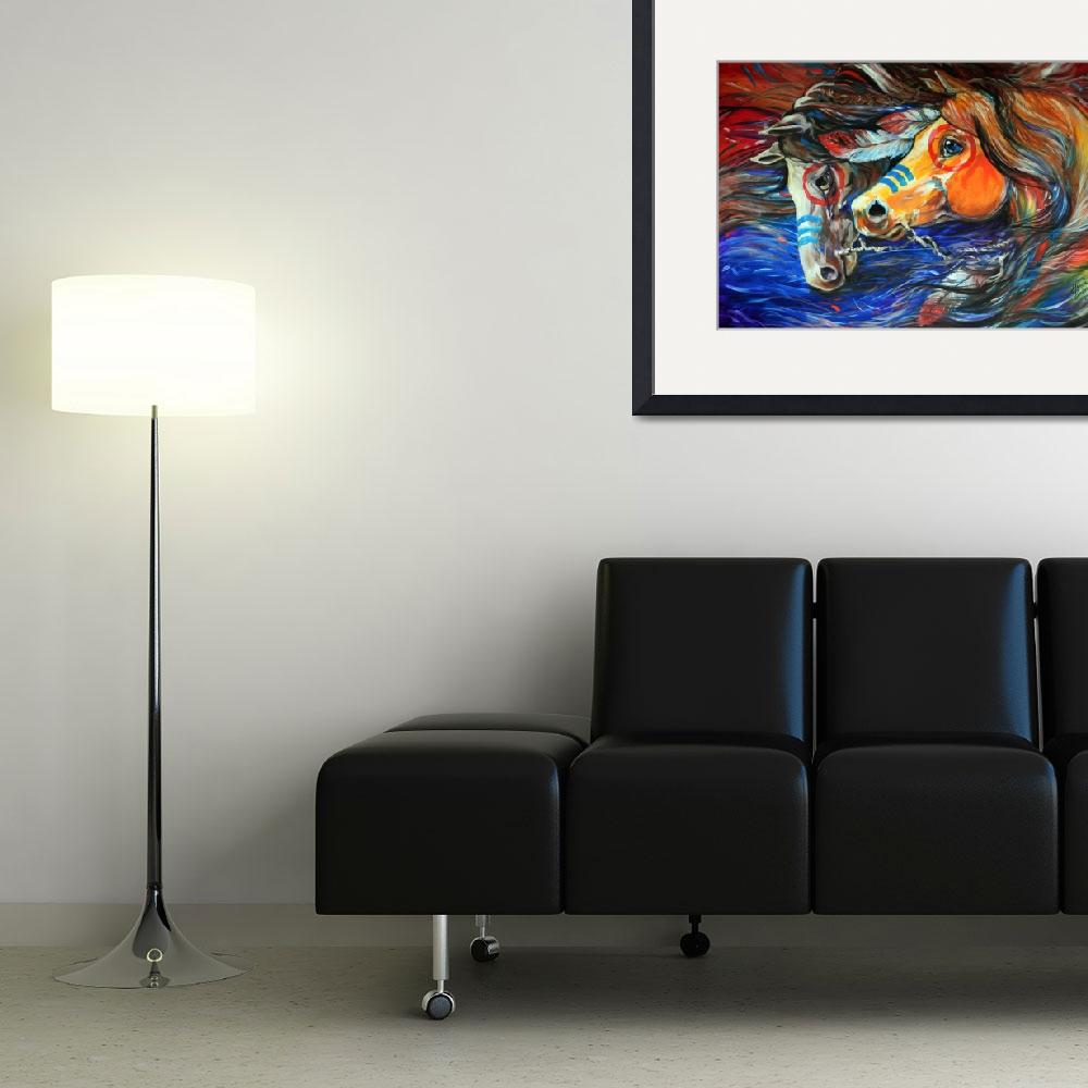 """""""THREE FEATHERS INDIAN WAR PONIES&quot  (2011) by MBaldwinFineArt2006"""