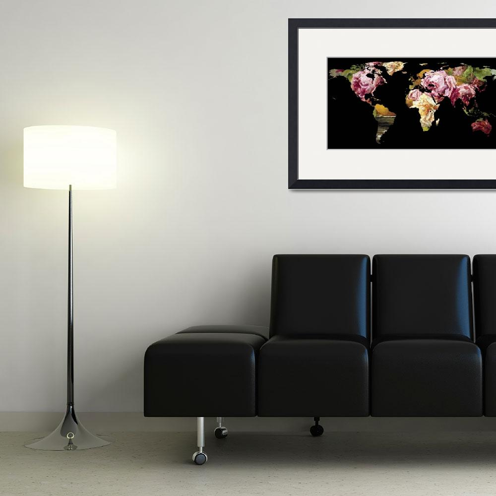 """World Map Silhouette - Painting of Roses&quot  by Alleycatshirts"