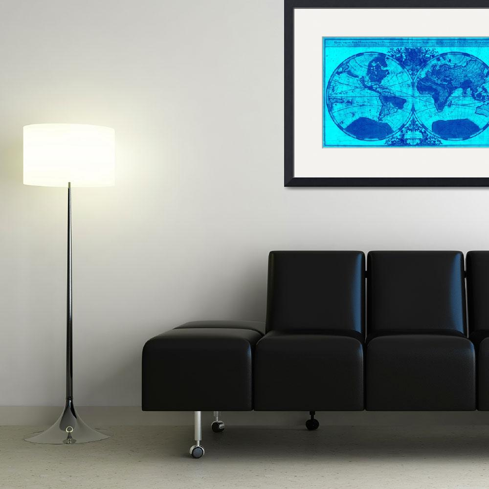 """""""World Map (1691) Light Blue & Blue""""  by Alleycatshirts"""