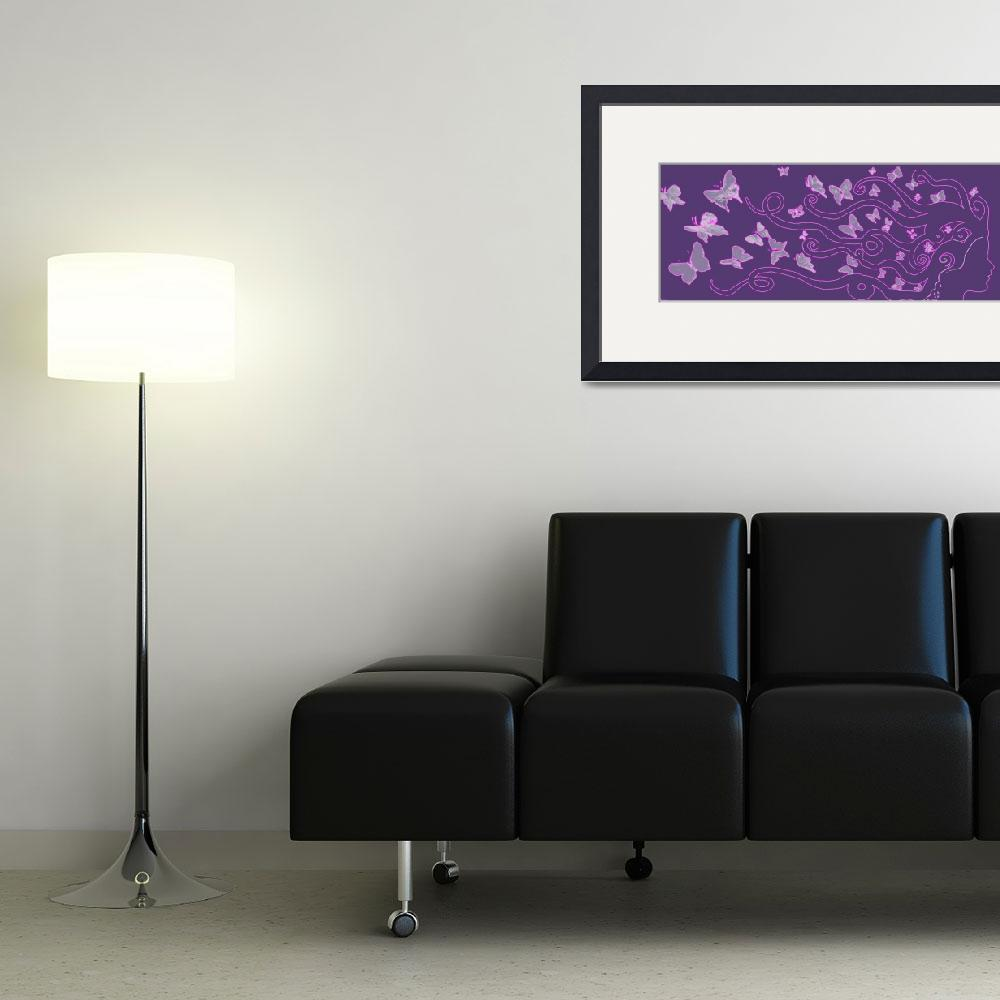 """""""enlighted female silhouette with butterflies in th""""  (2014) by arthop77"""