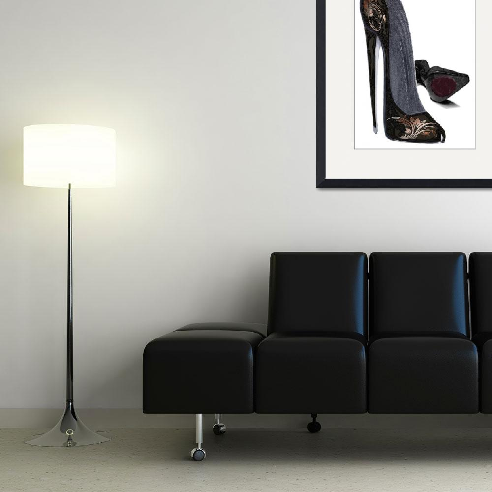 """""""Black and Copper Stiletto Shoe Art&quot  (2012) by carolekeen"""