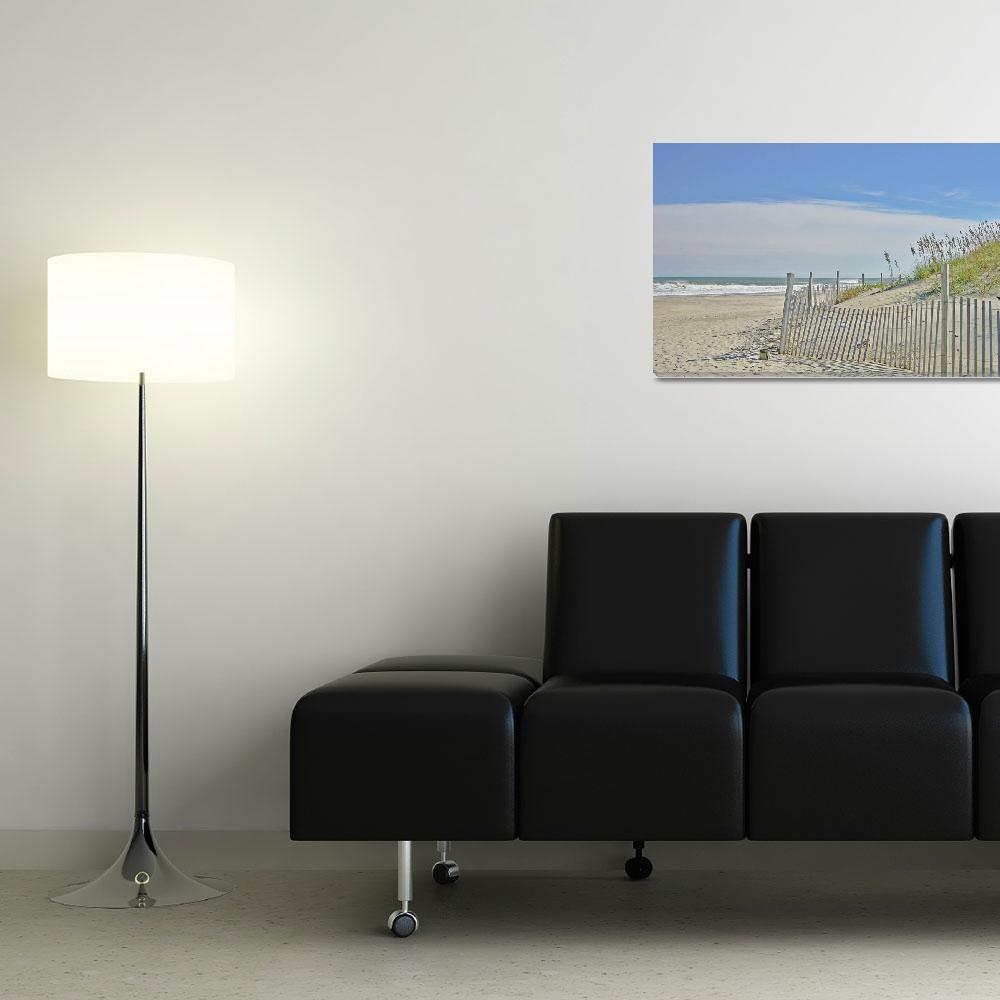 """""""Romantic Beach Walk Scene with White Fence""""  by arthop77"""