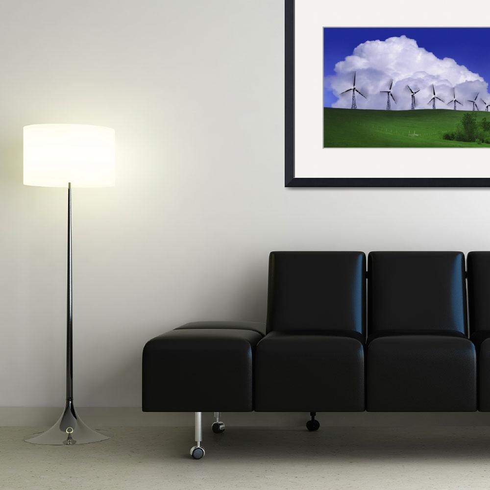 """""""Wind Generators With Clouds In Background&quot  by DesignPics"""