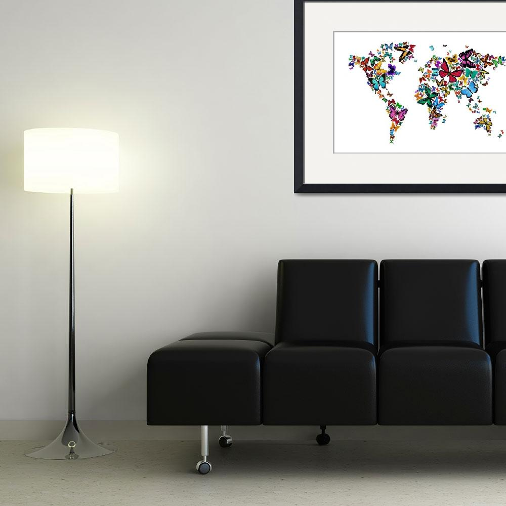 """Butterflies Map of the World&quot  by ModernArtPrints"