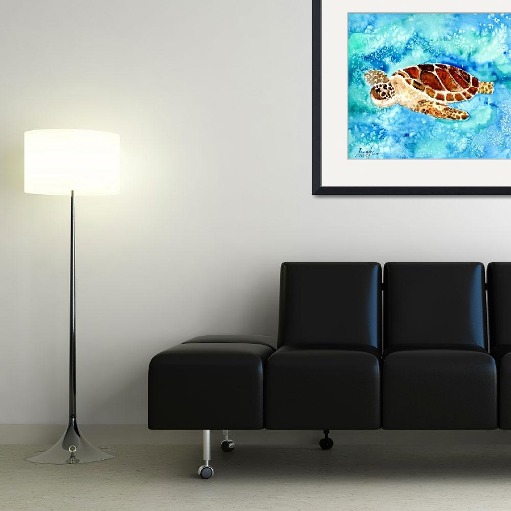 """sea turtle sea life painting print&quot  (2010) by derekmccrea"
