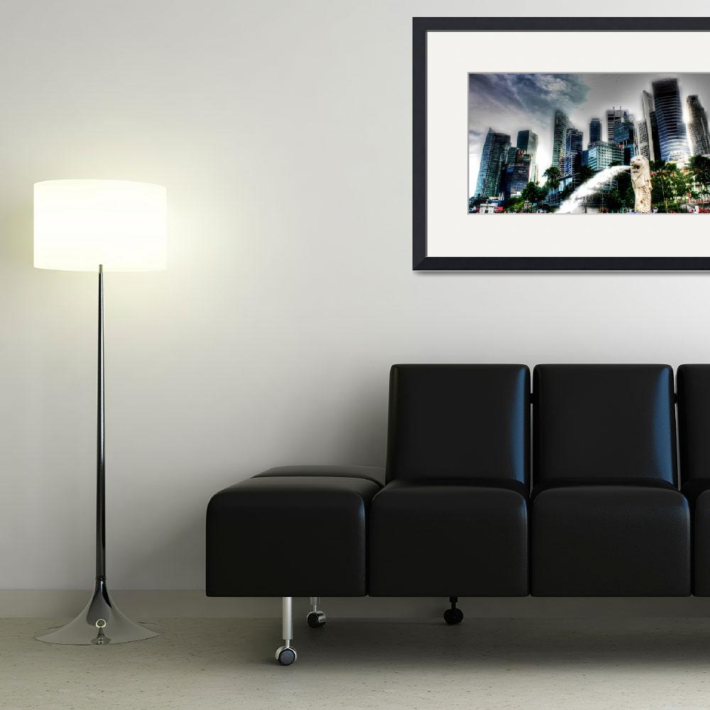"""""""City and Merlion - Cityscape Singapore 2013&quot  (2013) by sghomedeco"""