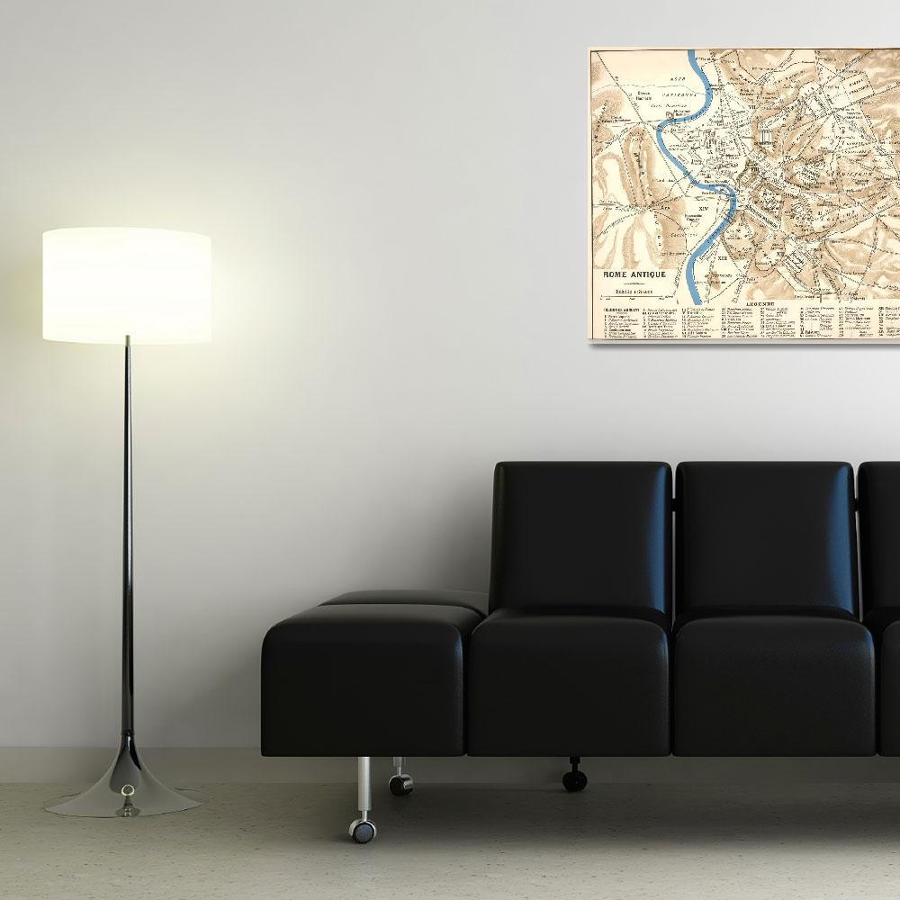 """""""Vintage Map of Rome Italy (1870)&quot  by Alleycatshirts"""