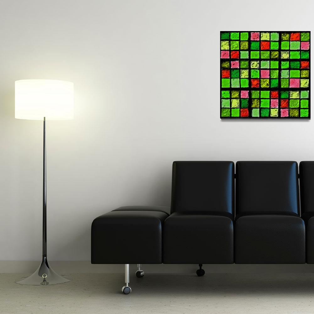 """""""Sudoku Abstract Green Red&quot  (2012) by KsWorldArt"""