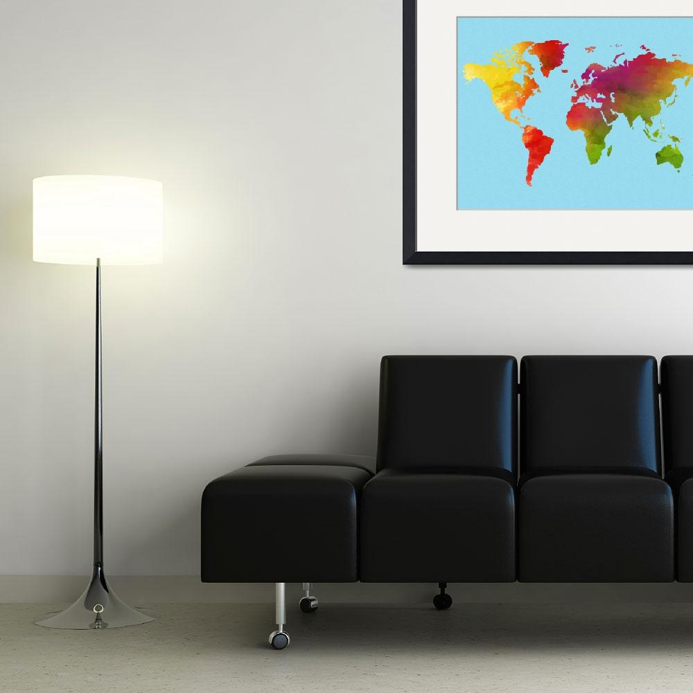 """""""Watercolor World Map v2&quot  by motionage"""