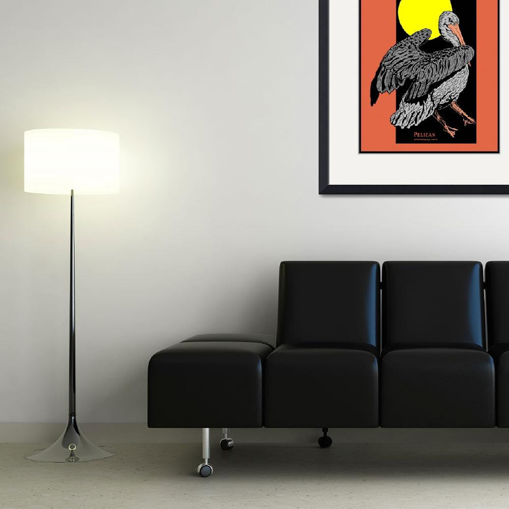 """Pelican and Full Moon""  (1994) by birdartprints"