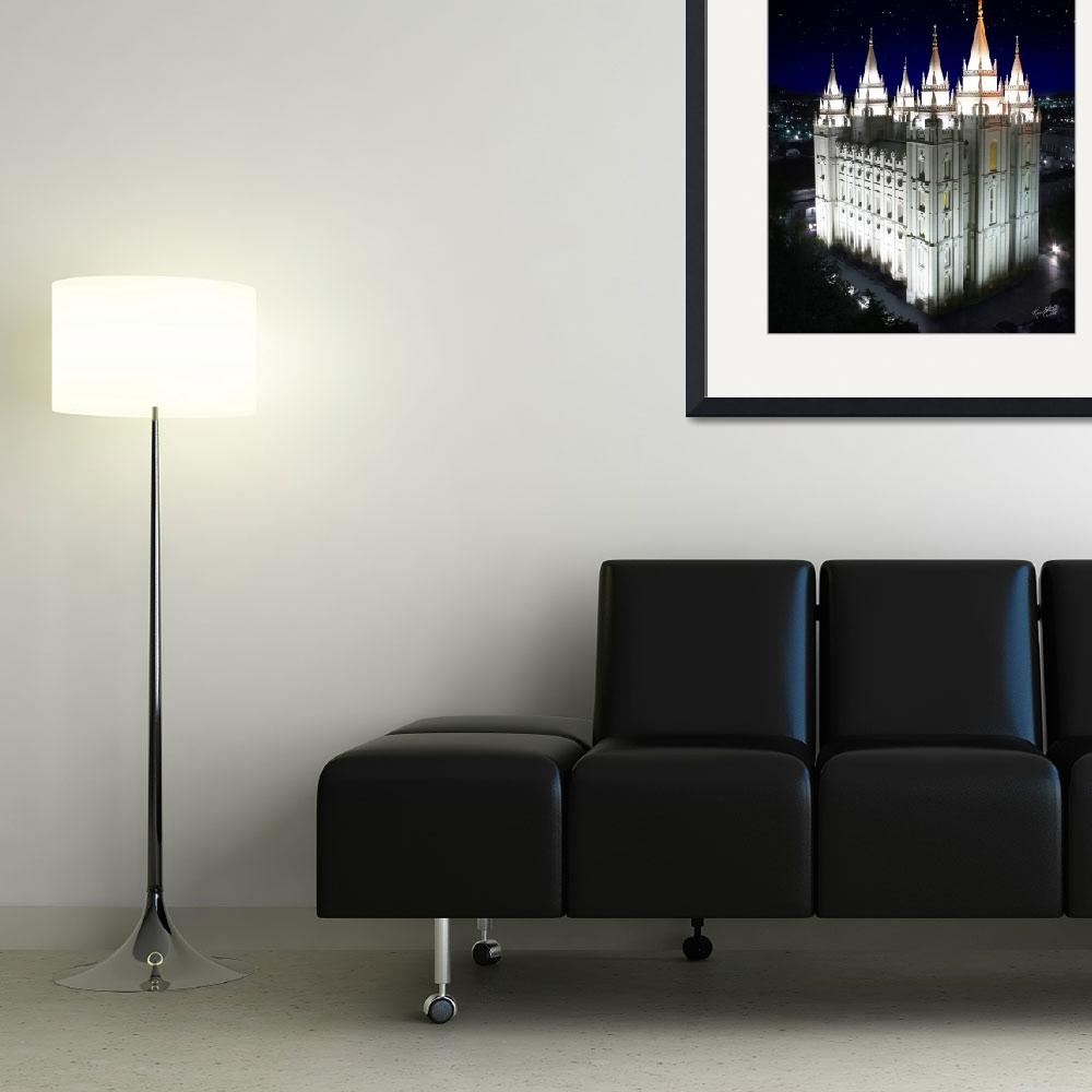 """""""Salt Lake Temple Starry Night 16x20&quot  (2011) by lightvoyages"""