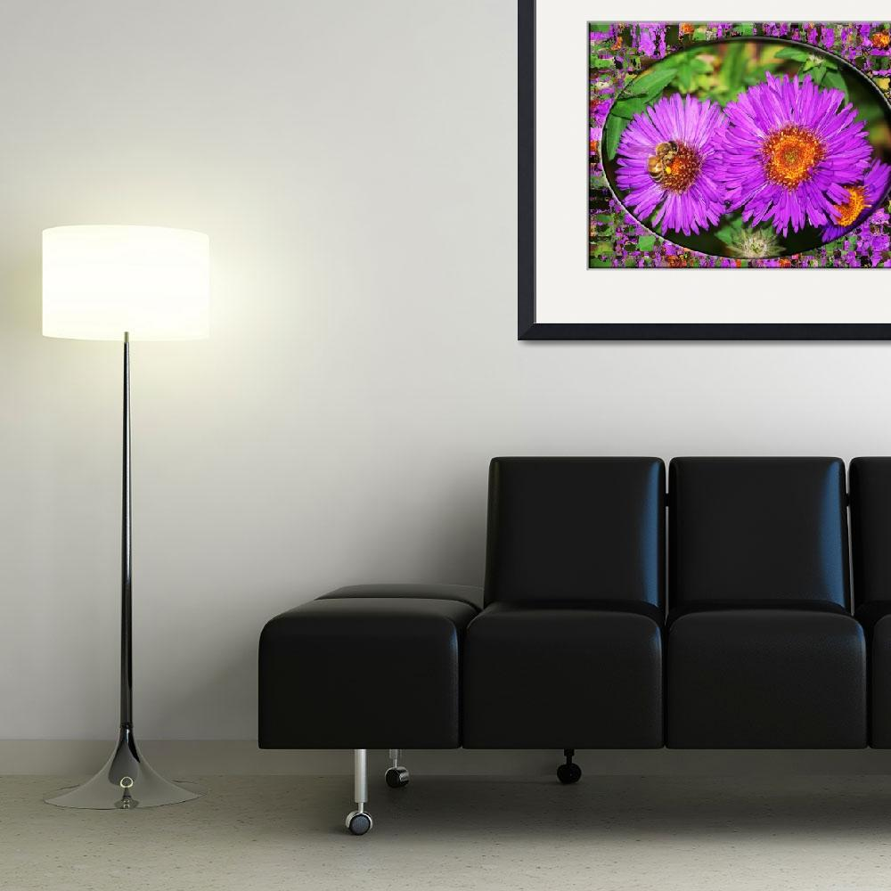 """""""pinkish redish flowers with bee and frame glass 4&quot  by MLou5848"""