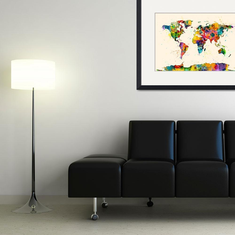 """""""Map of the World Map Watercolor&quot  (2014) by ModernArtPrints"""