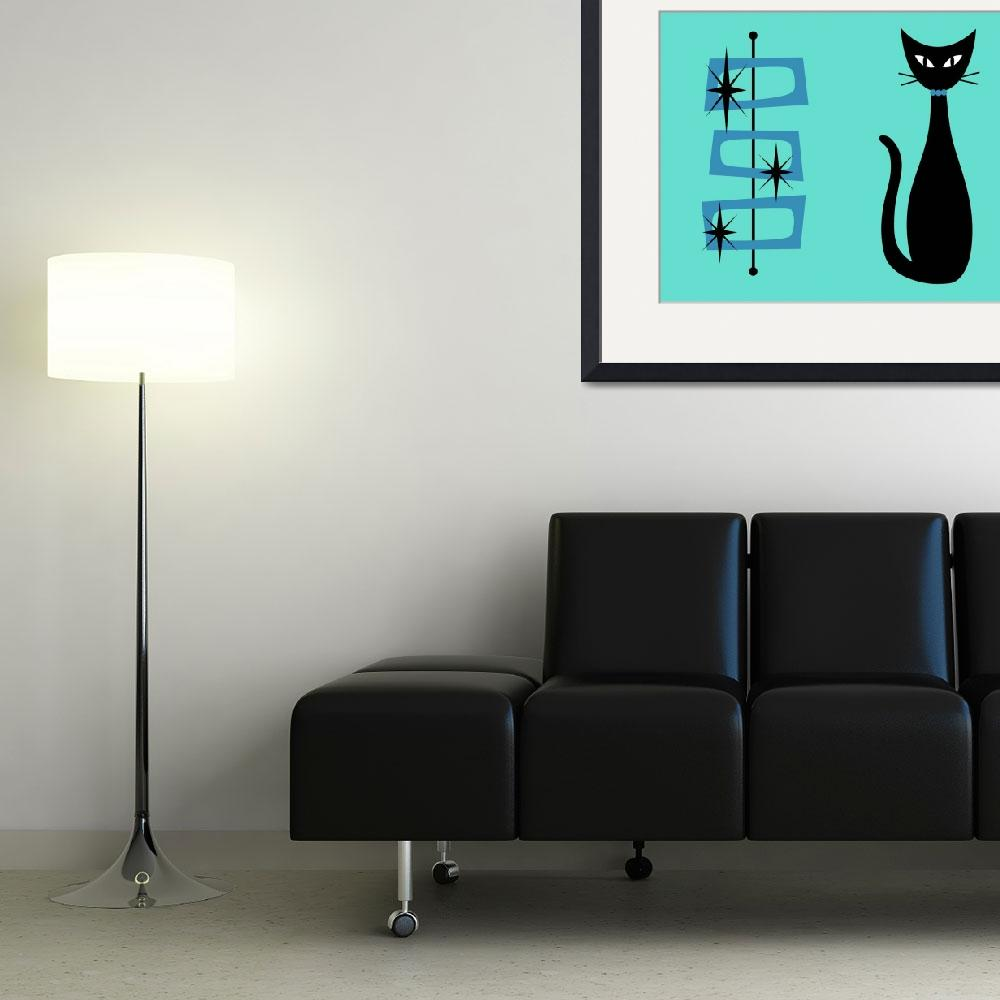 """""""Black Cat with Mid Century Shapes on Aqua&quot  (2016) by DMibus"""