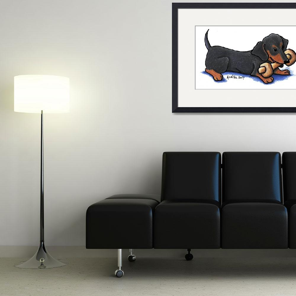 """""""Dachshund with Bone&quot  (2007) by KiniArt"""