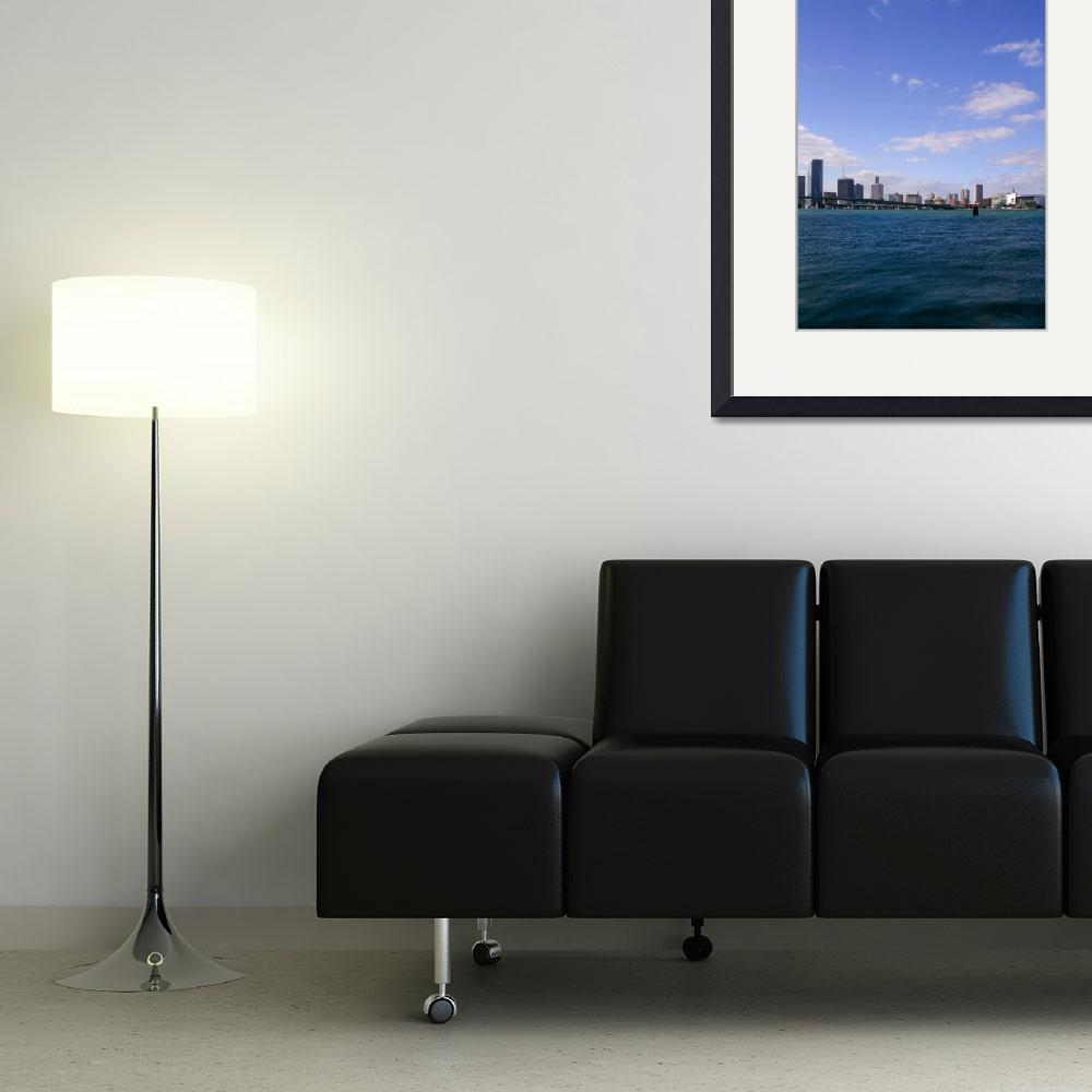 """Miami Skyline, Biscayne Bay, Florida""  (2003) by fineartphoto"
