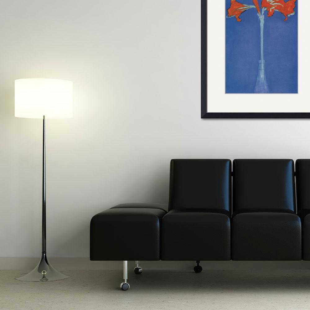 """""""Mondrian Amaryllis in a Flash in front of a blue b&quot  by oldies"""