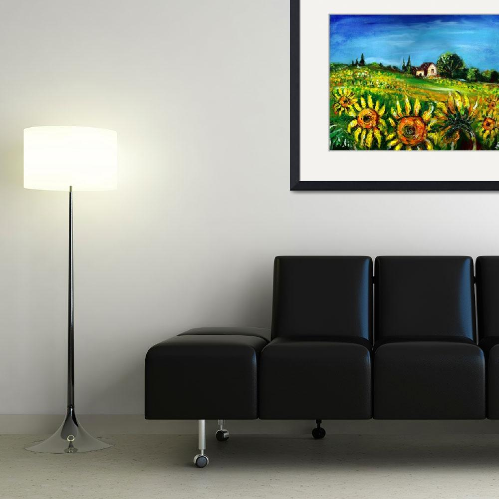 """""""Sunflowers in Countryside of Tuscany""""  (2009) by BulganLumini"""