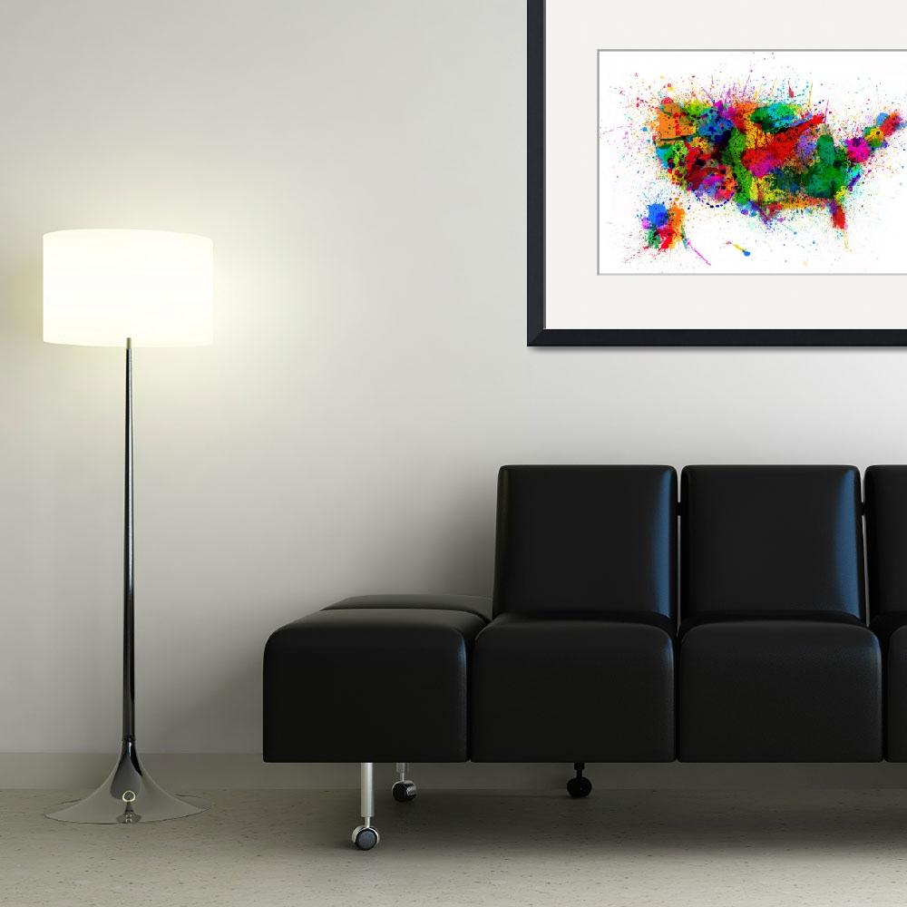 """""""United States Paint Splashes Map&quot  (2013) by ModernArtPrints"""