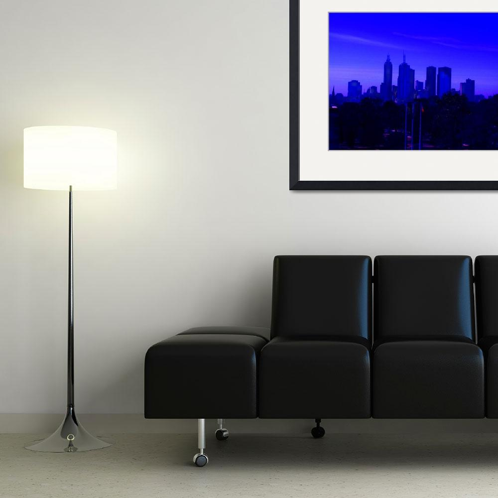 """""""Abstracted Melbourne Skyline&quot  (2010) by davidflurkey"""