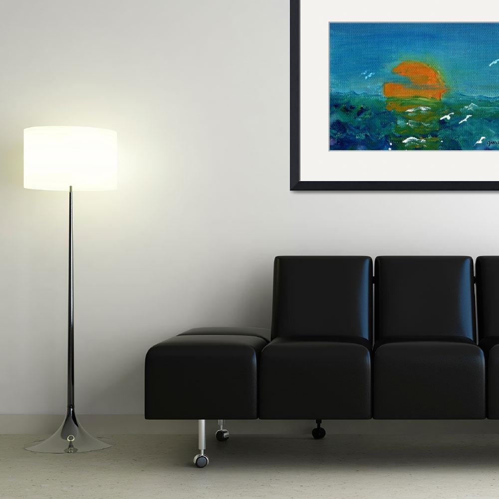 """""""Ocean Sunset&quot  (2000) by paintingsbygretzky"""