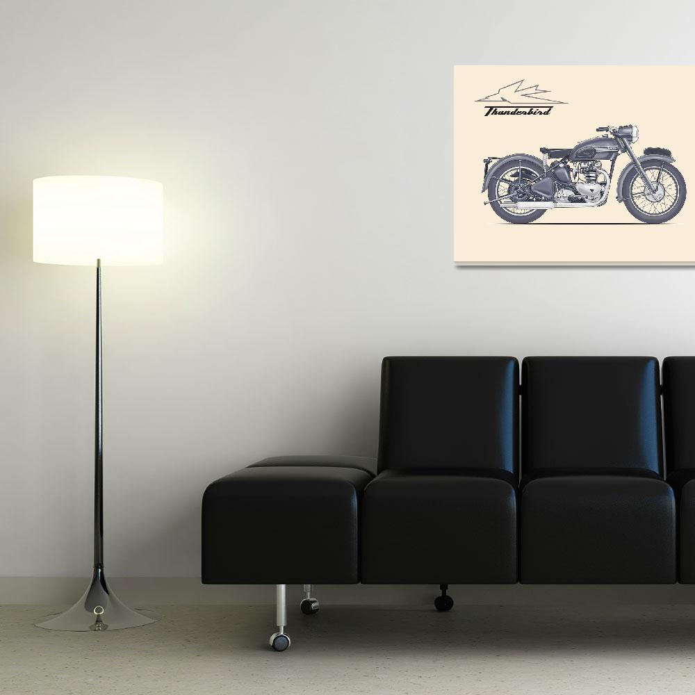 """""""The Classic Thunderbird Motorcycle&quot  by mark-rogan"""