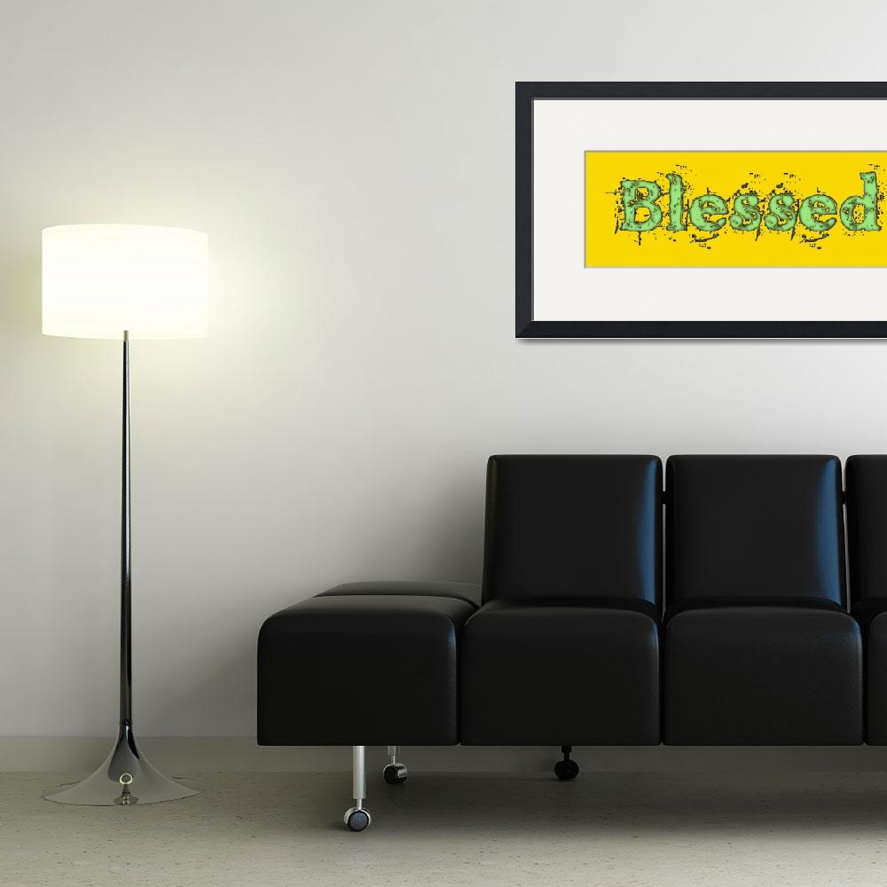 """""""blessed old print green on yellow""""  by lizmix"""