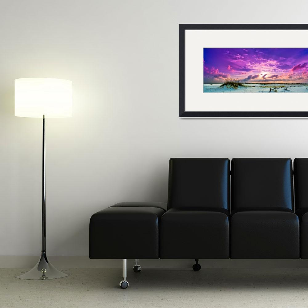 """""""Purple Clouds Skyscape Sunset Over Beach Sand Dune""""  (2014) by eszra"""