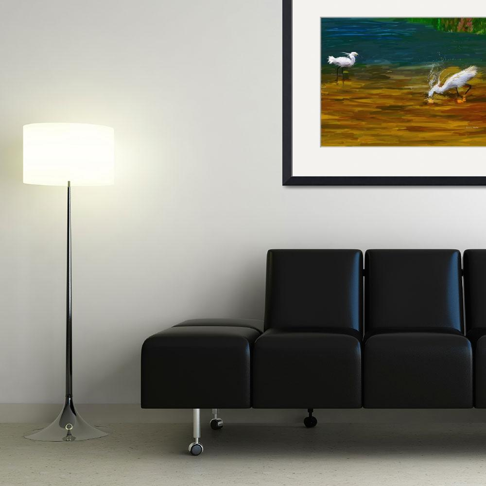 """""""Computer Generated Image Of Bird Wading And Drinki&quot  by DesignPics"""