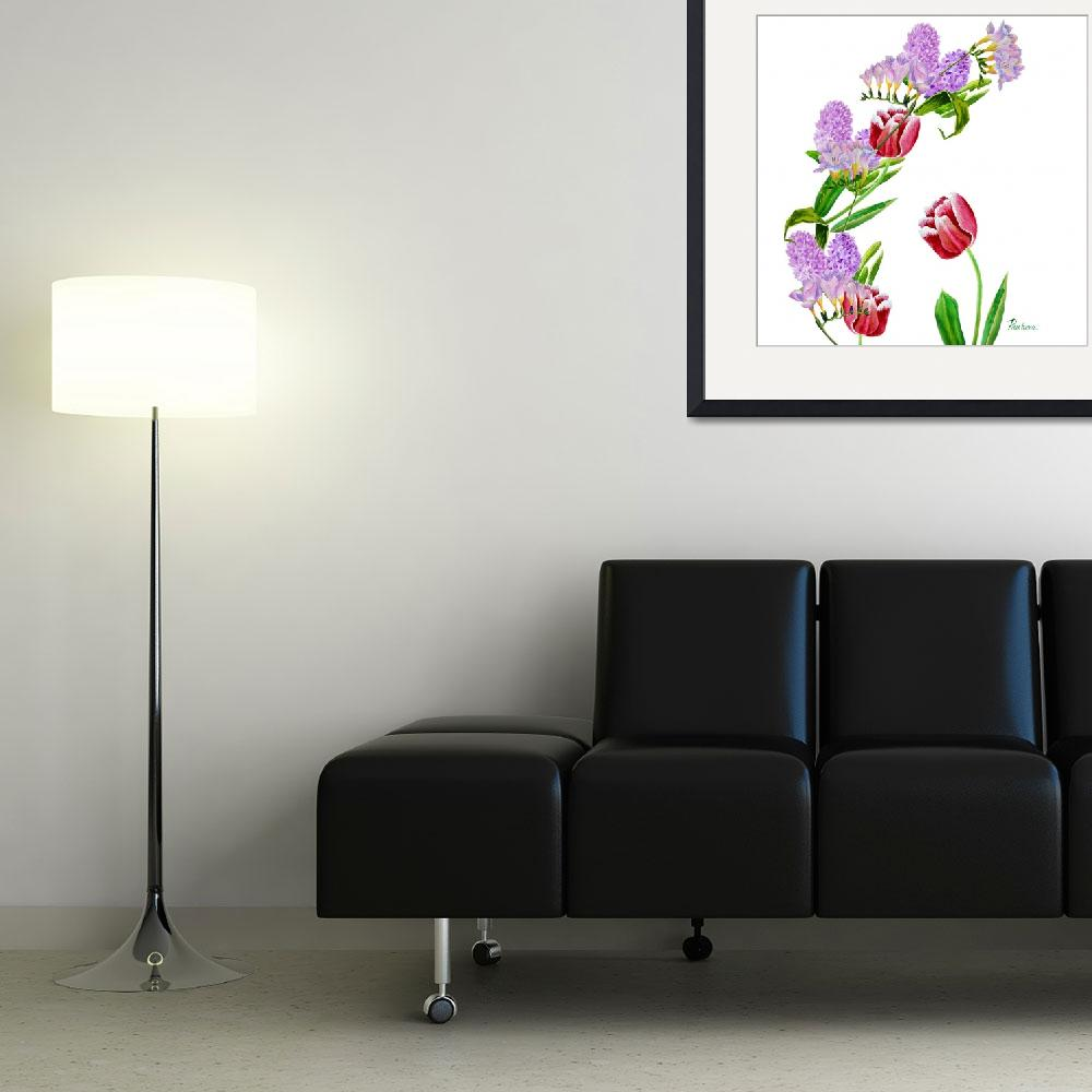 """""""Background with tulip and flowers""""  by piacheva"""