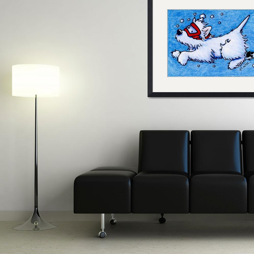 """""""Westie Diver""""  (2011) by KiniArt"""