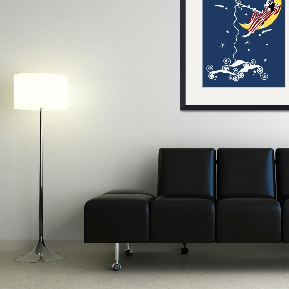 """""""Dog Fishing from the Moon&quot  (2008) by kristensteinfineart"""