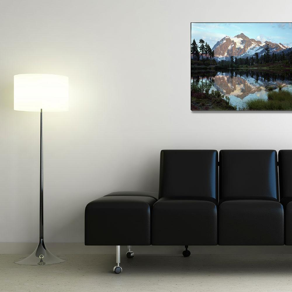"""""""Mount Shuksan Reflected in Picture Lake""""  (1998) by JohnChaoPhoto"""