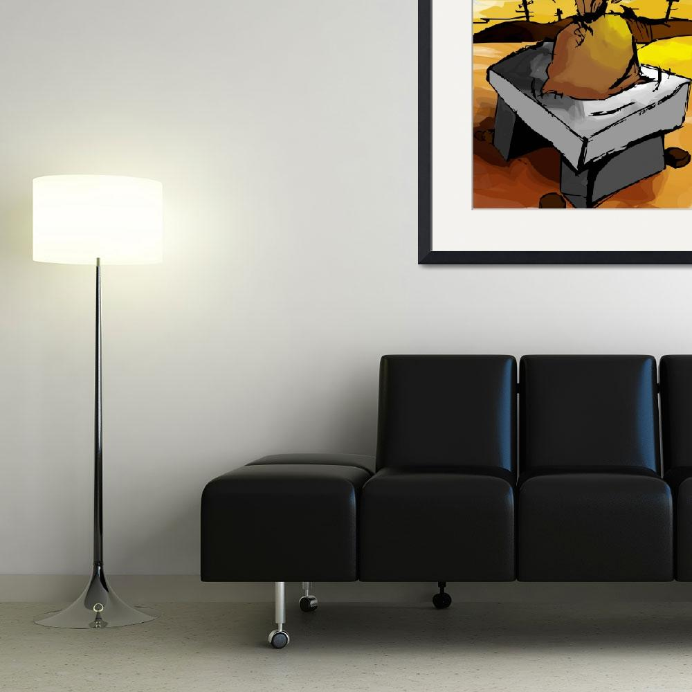 """Digital painting of a sack on top of a seat made&quot  (2010) by digitalpainting"