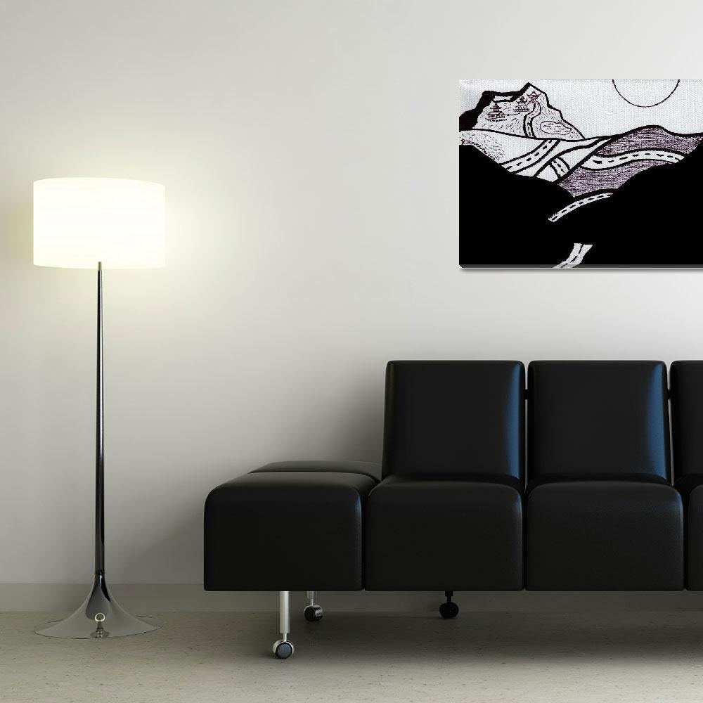 """""""Zen Sumi Midnight Drive Black Ink on White Canvas""""  (2011) by Ricardos"""