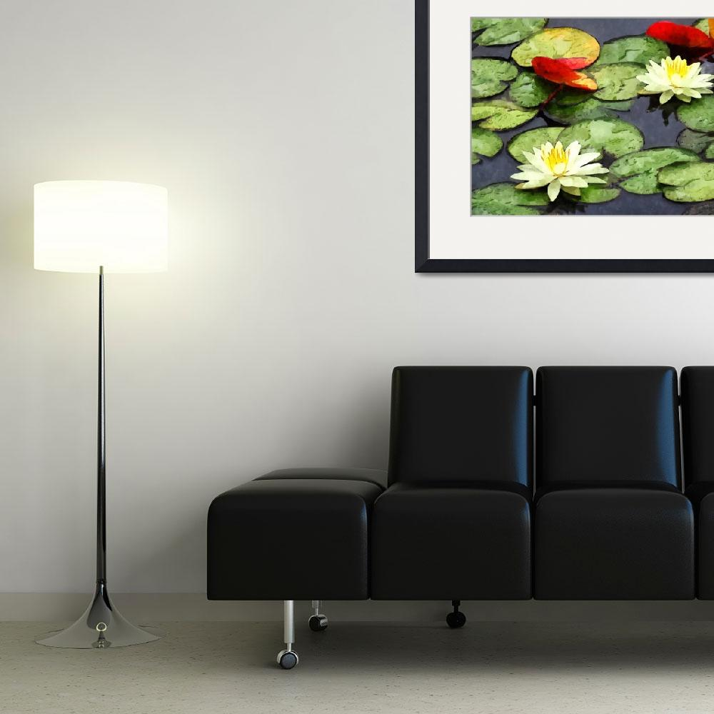 """""""Water Lily Pond in Autumn&quot  by susansartgallery"""