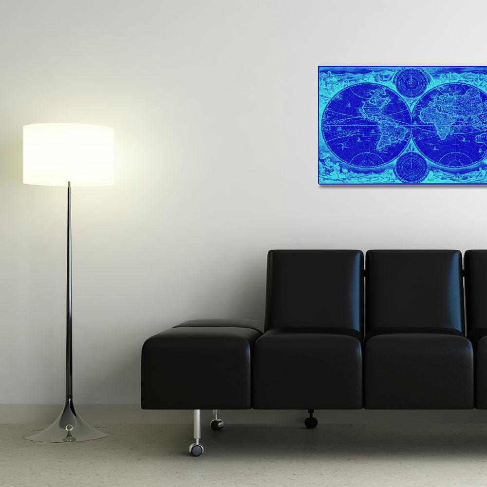 """""""World Map (1730) Blue & Light Blue&quot  by Alleycatshirts"""